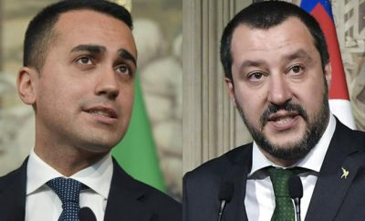 (FILES) This file combo made on May 10, 2018 shows anti-establishment Five Star Movement (M5S) leader Luigi Di Maio and the leader of the far-right party Lega Matteo Salvini.   Italy's prime minister-designate announced on May 31, 2018 his ministerial line-up after being handed a mandate for a second time to form a new populist government. Far-right League leader Matteo Salvini was named interior minister while the head of Five Star Movement Luigi Di Maio is slated to become minister for economic development. / AFP PHOTO / Tiziana FABI