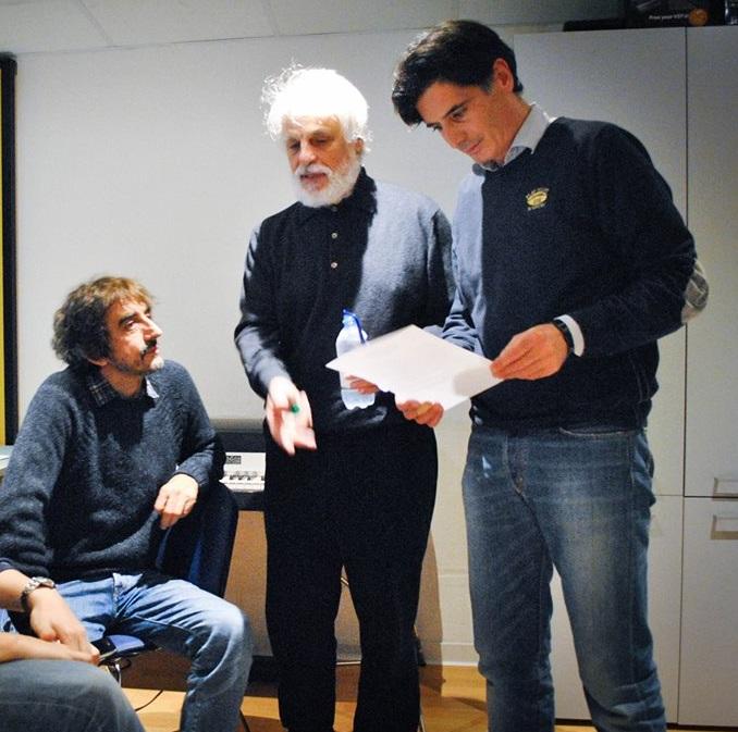 Davide Cavuti in sala di registrazione con Sergio Rubini e Michele Placido