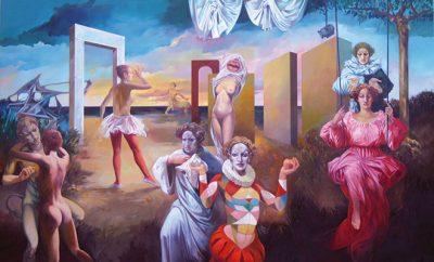 Situazione teatrale,1982, olio su tela, cm 140 x 196