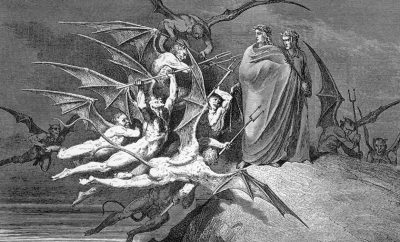 Dante's guide Virgil rebuffs Malacoda and his fiends in Inferno Canto 31. * Artist: Gustave Doré (1832-1883)